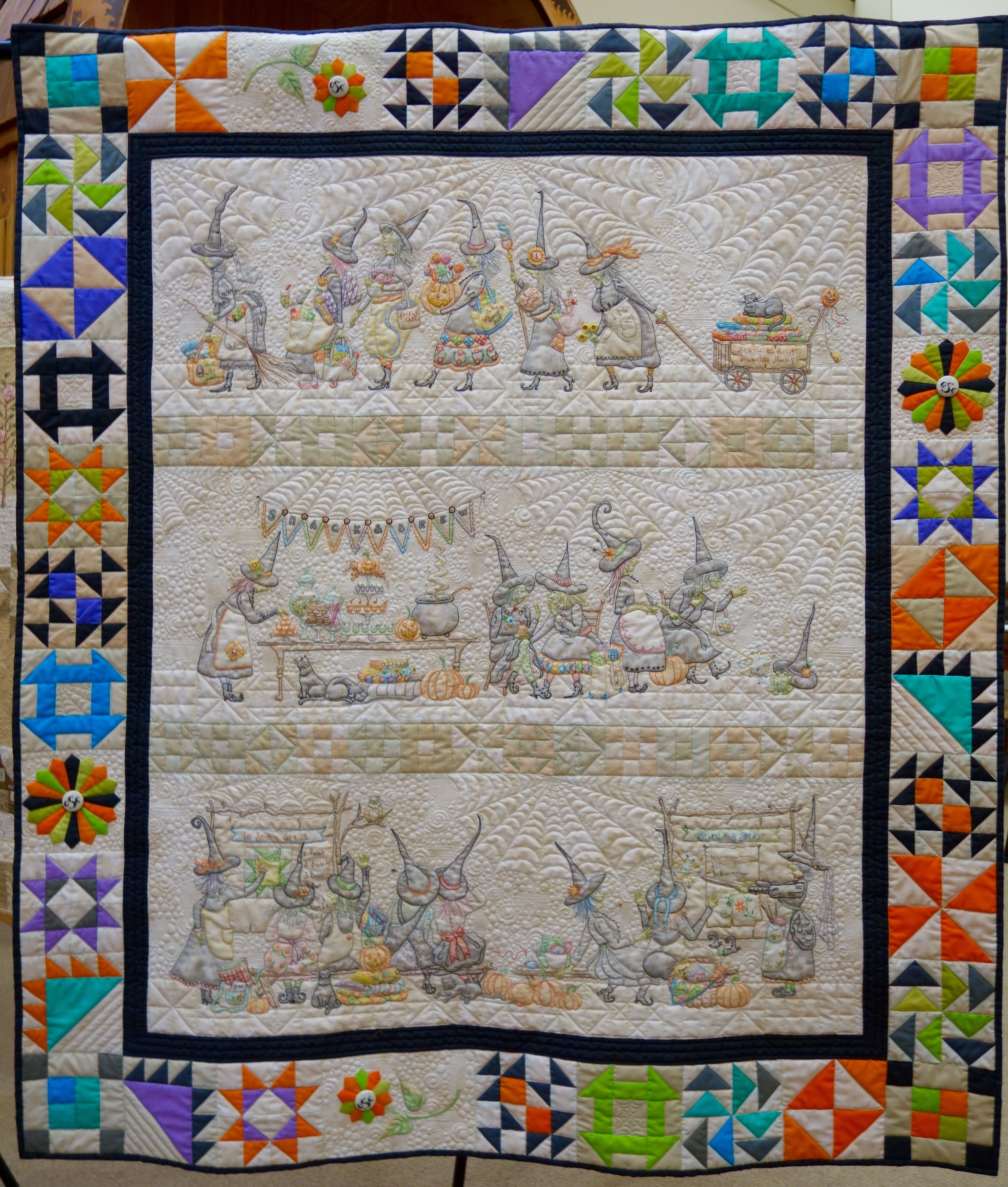 The Mystery Of The Salem Quilt Guild By Meg Hawkey Witch Quilt Quilts Embroidered Quilts