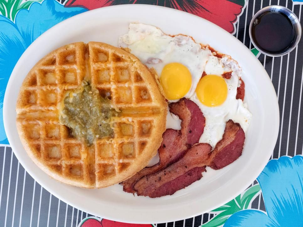 Green Corn Waffle At Mother Hubbard S Cafe Unlike Any Toaster Style Waffle This Savory Waffle At Mother Hub Food Network Recipes Food Food Network Restaurants