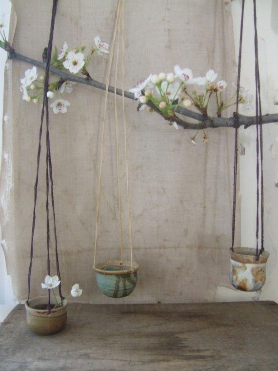 vintage miniature hanging pots / for my Fairies