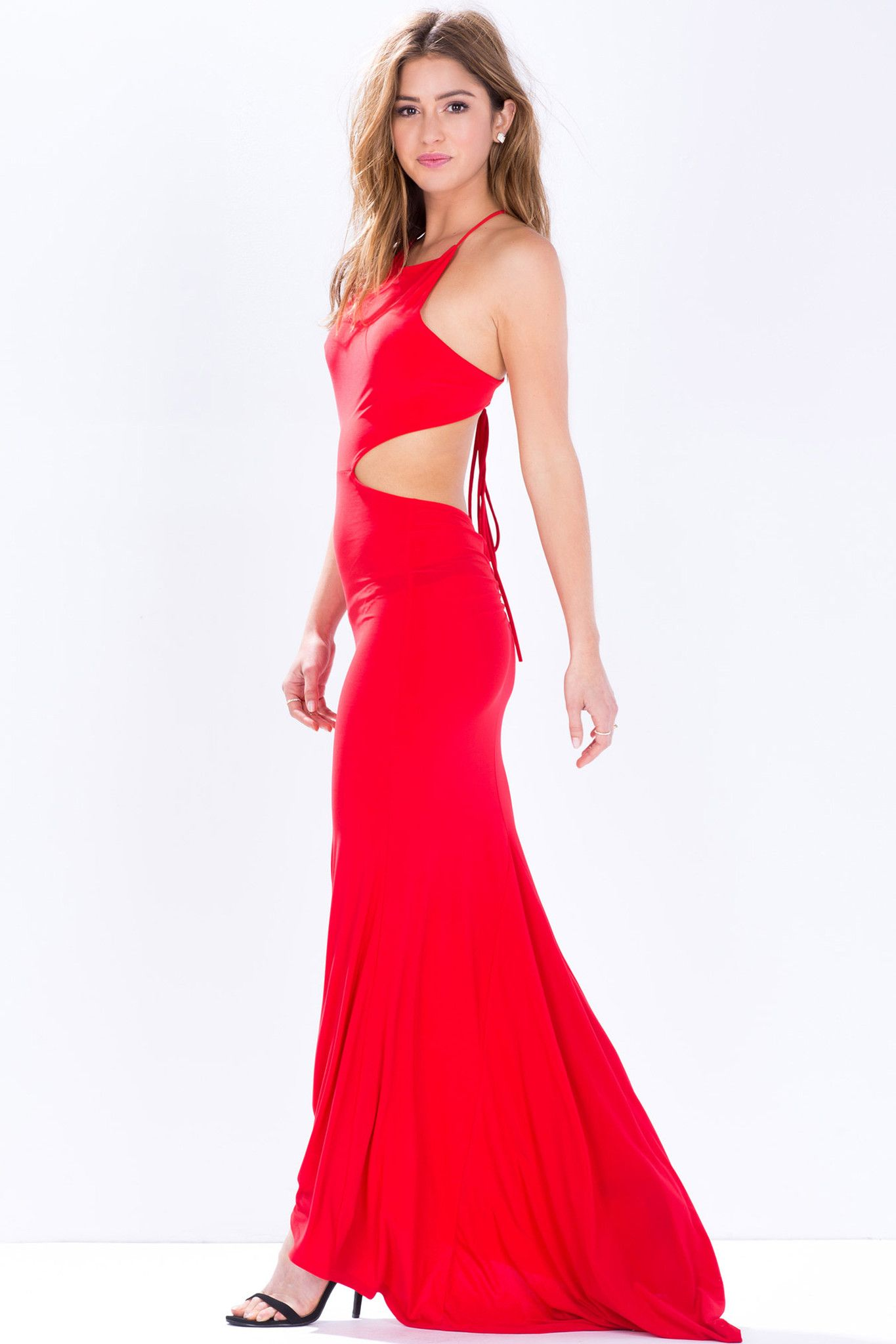 Nice touch open back red maxi dress dresses and rompers