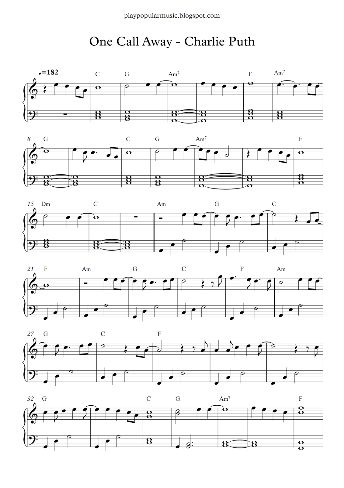 Free Piano Sheet Music: One Call Away
