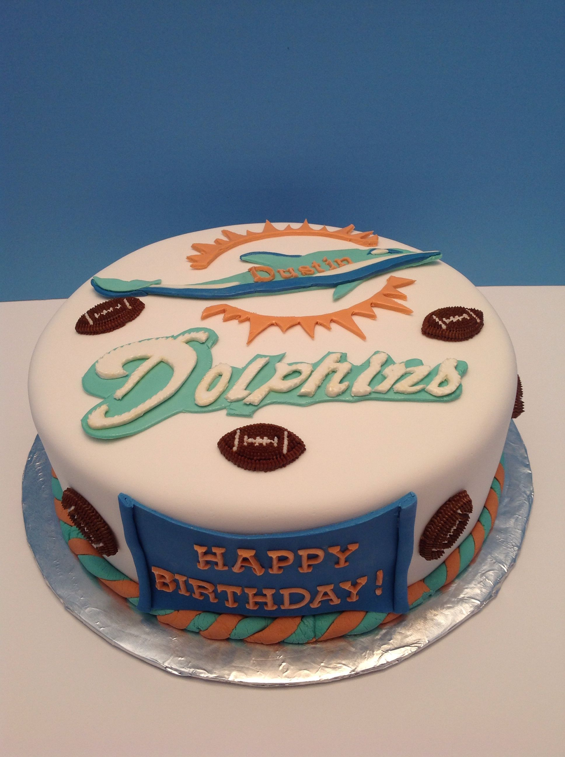 Strange Miami Dolphins Birthday Cake With Images Dolphin Birthday Funny Birthday Cards Online Alyptdamsfinfo