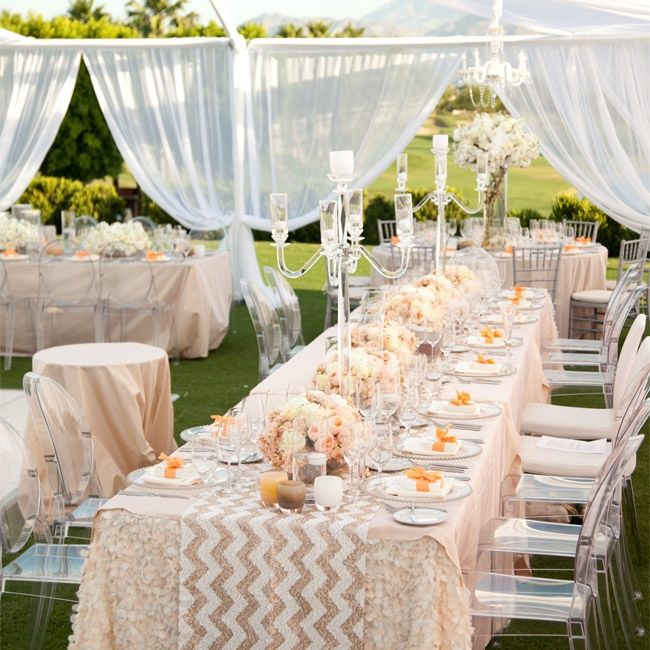 Pretty blush tables with a chevron runner! Such a romantic tablescape. Photo: Michael Segal Photography