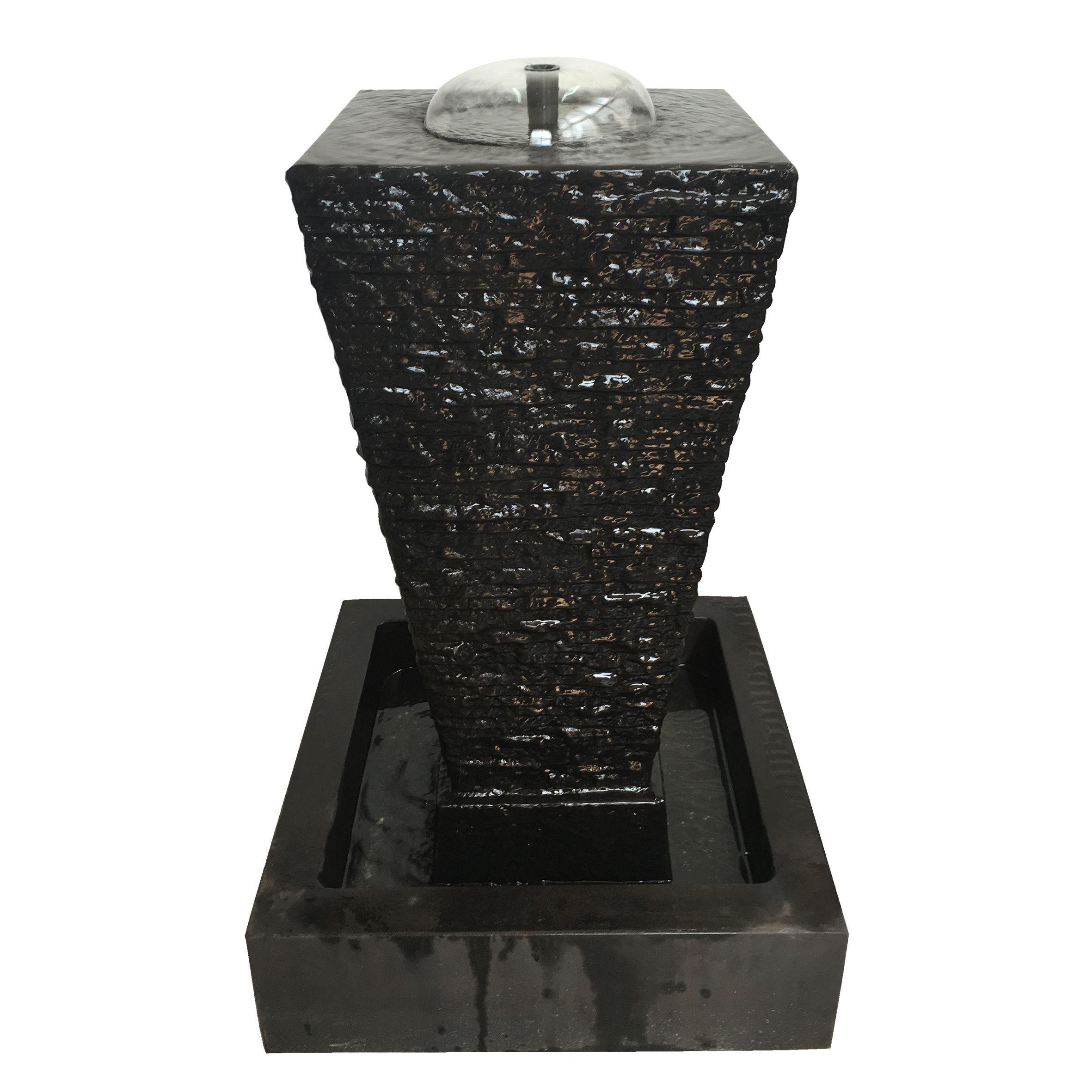 Maya Black Stone and Glass Indoor Table Fountain (24X24X36 Maya ...