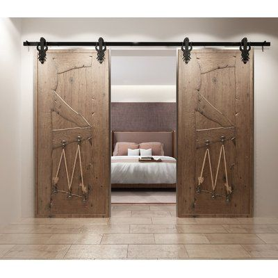 Homacer Imperial Barn Door Hardware Size 13 Feet Type Byp Double With U Bracket