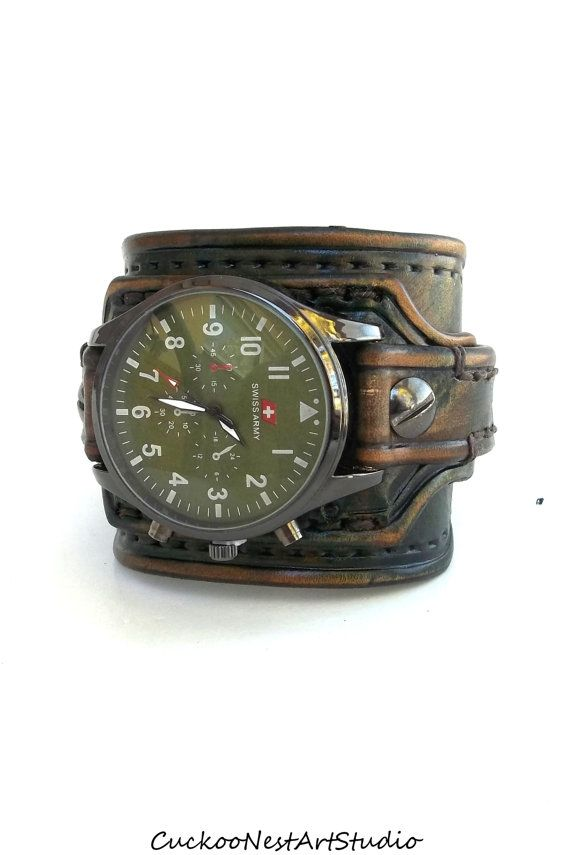 ea817aaa90d3 Men s watch, Leather Cuff Watch, Wrist Watch, Leather, Leather Cuff,  Bracelet Watch, Army Green
