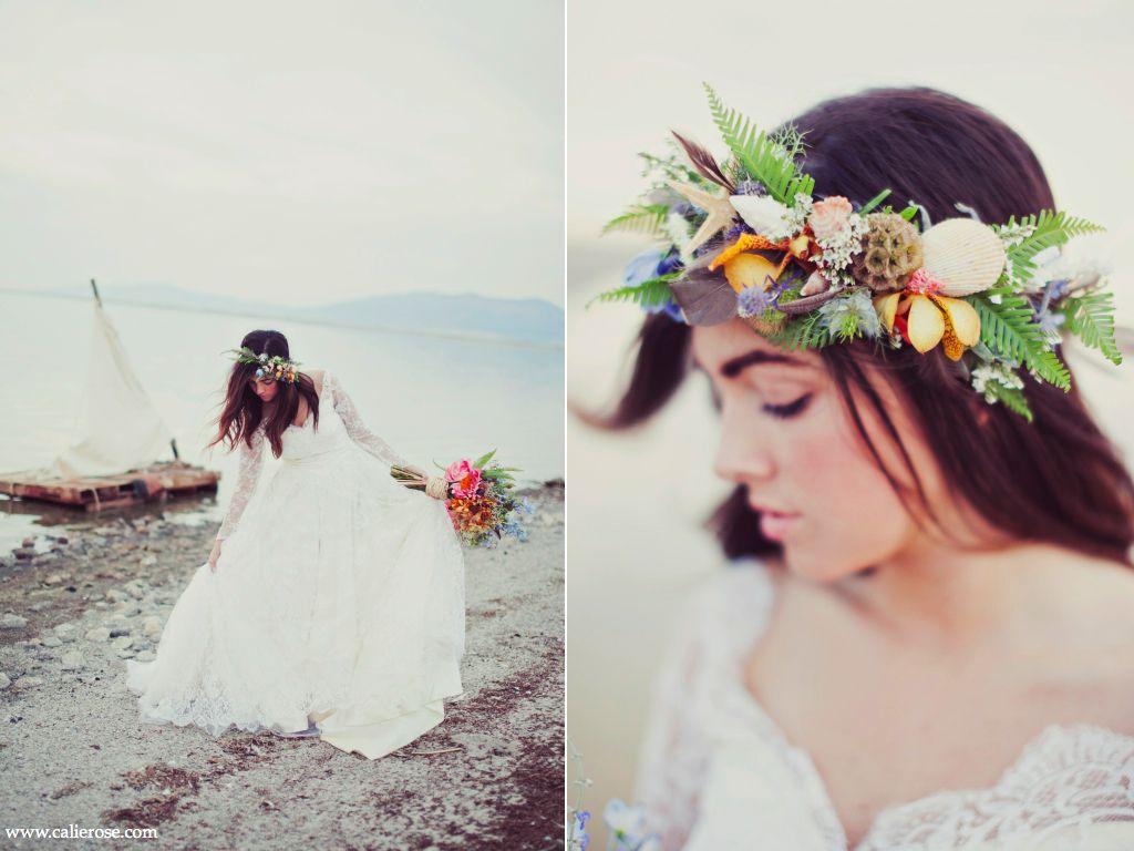 Sea Shell Wedding Flower Halo Bouquet Beach Inspired Wedding