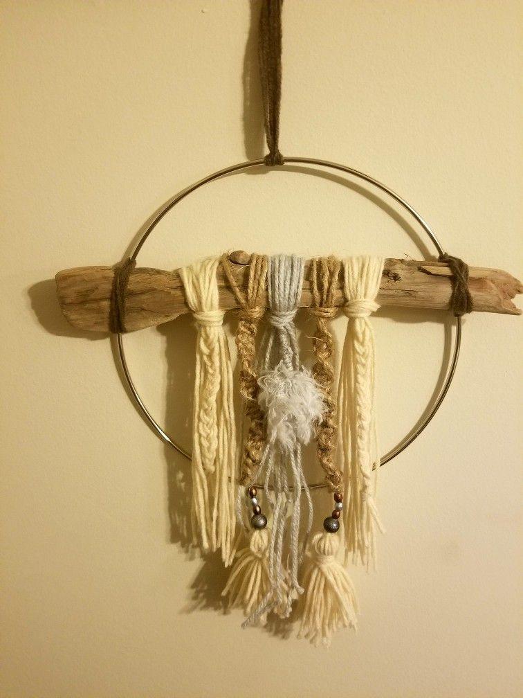 INSPIRE driftwood, yarn and beads dream catcher boho yarn wall decor ...
