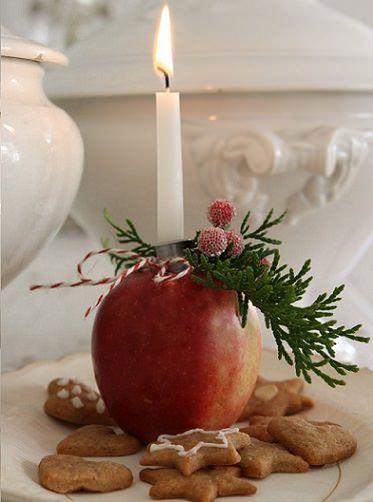 Centro de mesa para navidad con manzana obra de navidad pinterest christmas time - Adornos navidenos sencillos ...