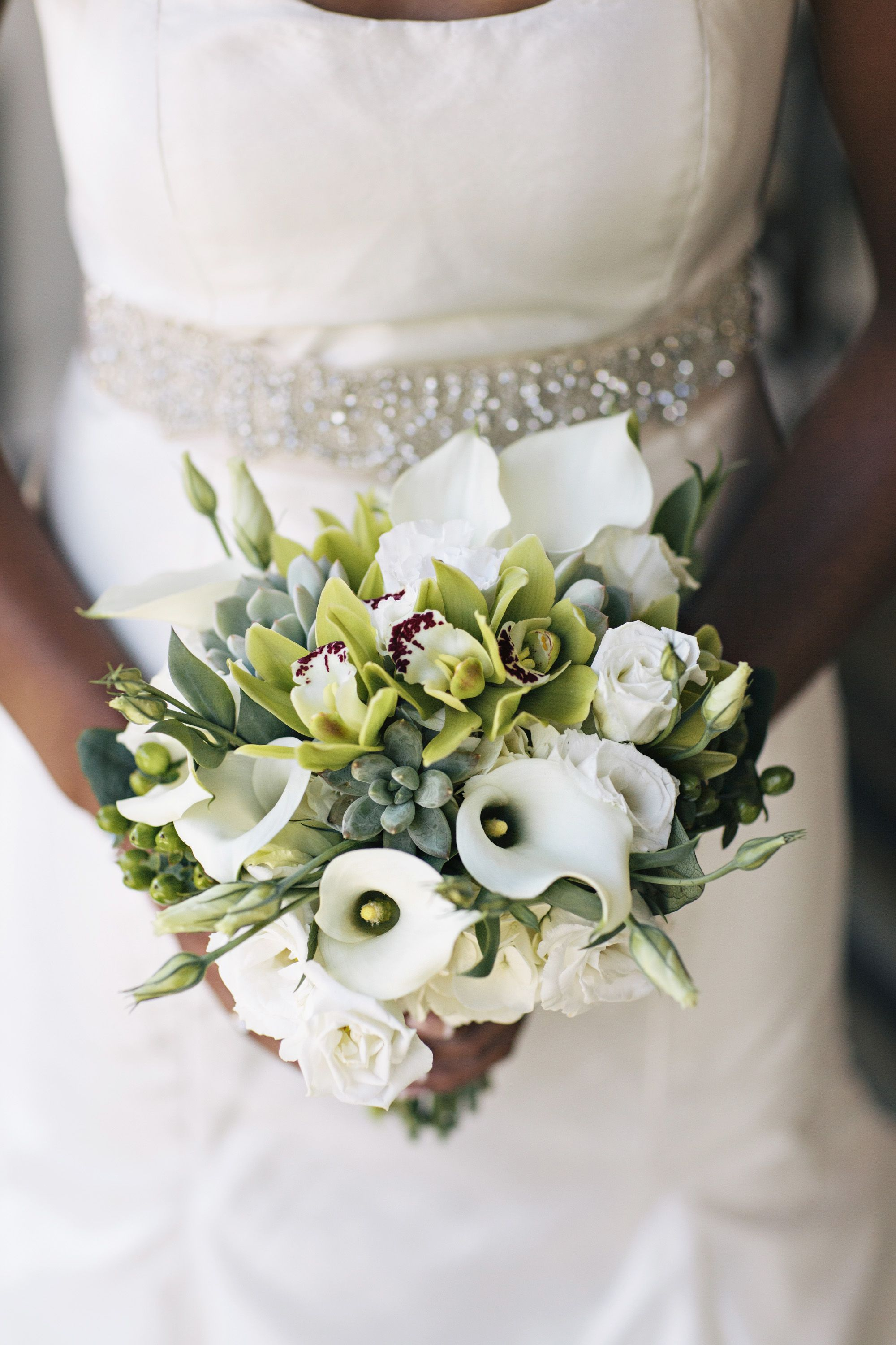 Wedding succulent, orchid and calla lily bouquet Fall