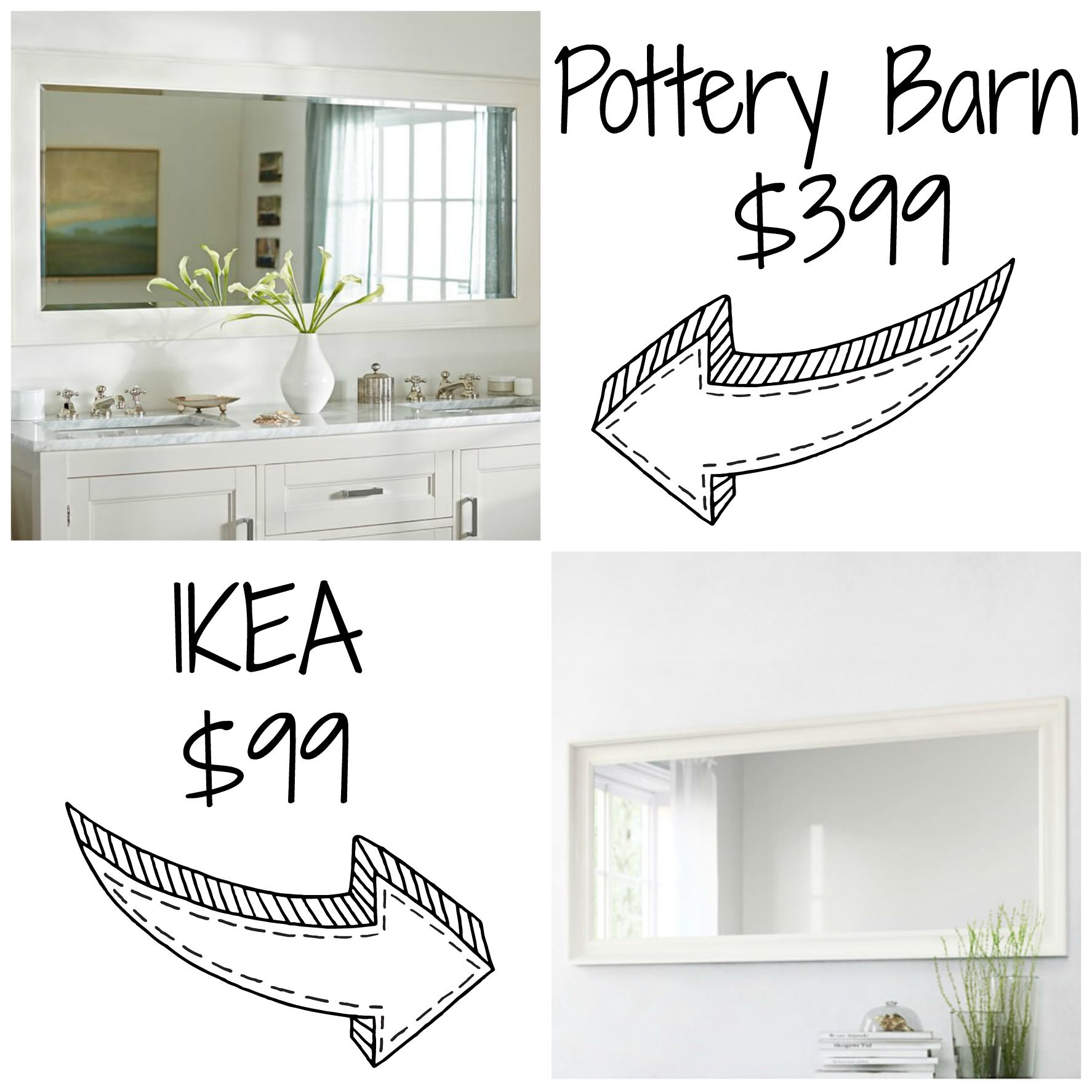 Pottery Barn Farmhouse Extra Wide Dresser Decor Look Alikes Pottery Barn Classic Double Wide Mirror