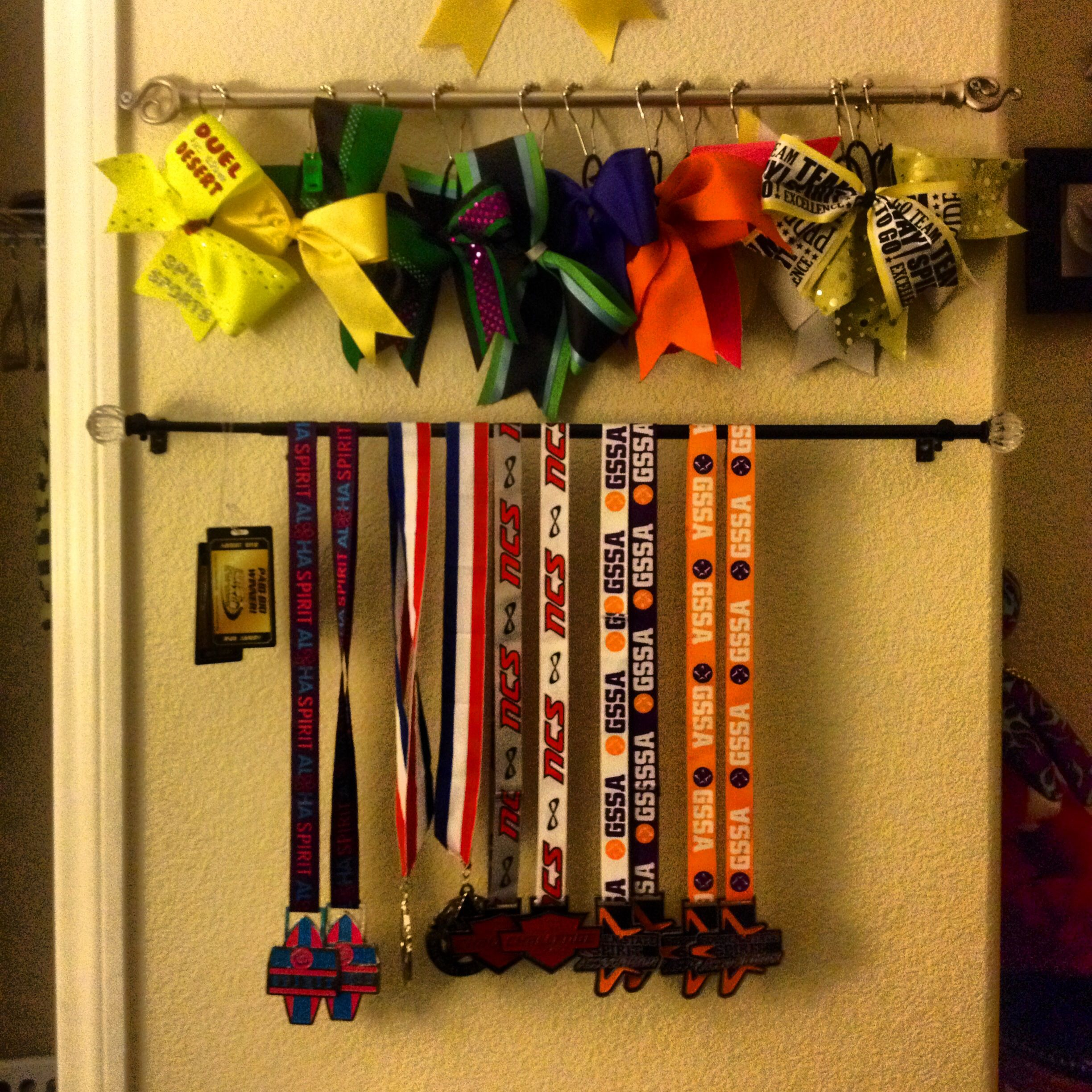 Cheer bow holder & medals holder. Used curtain rods and shower ...