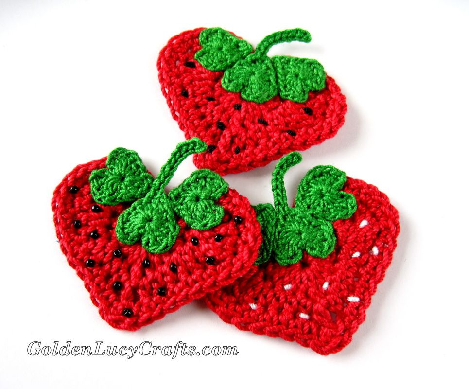 Crochet Heart Strawberry Appliqu Free Pattern From