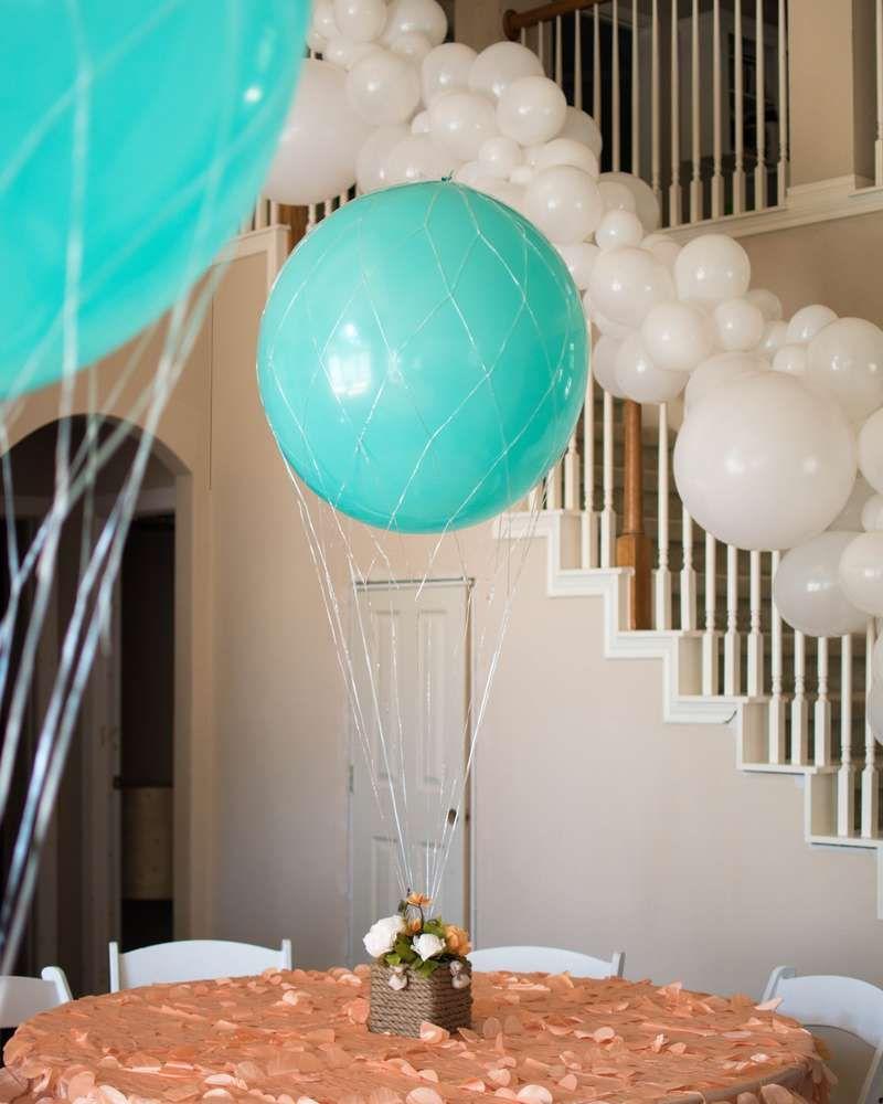 Hot Air Balloon Baby Shower Party Ideas Photo 1 Of 9 Hot Air Balloon Baby Shower Hot Air Balloon Party Decorations Diy Hot Air Balloons