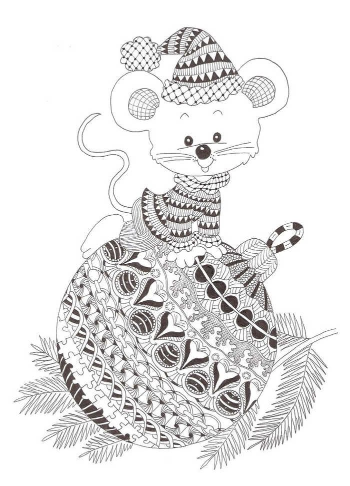 Christmas Ornaments Coloring Sheets Zentangle patterns
