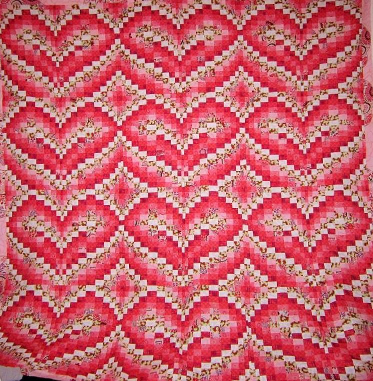 """""""Little Hearts"""" Bargello quilt pattern by Becky Botello"""