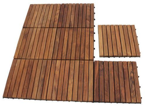 Teak Tile 9 Slat Pattern With Oiled Finish 10 Sq Ft Interlocking