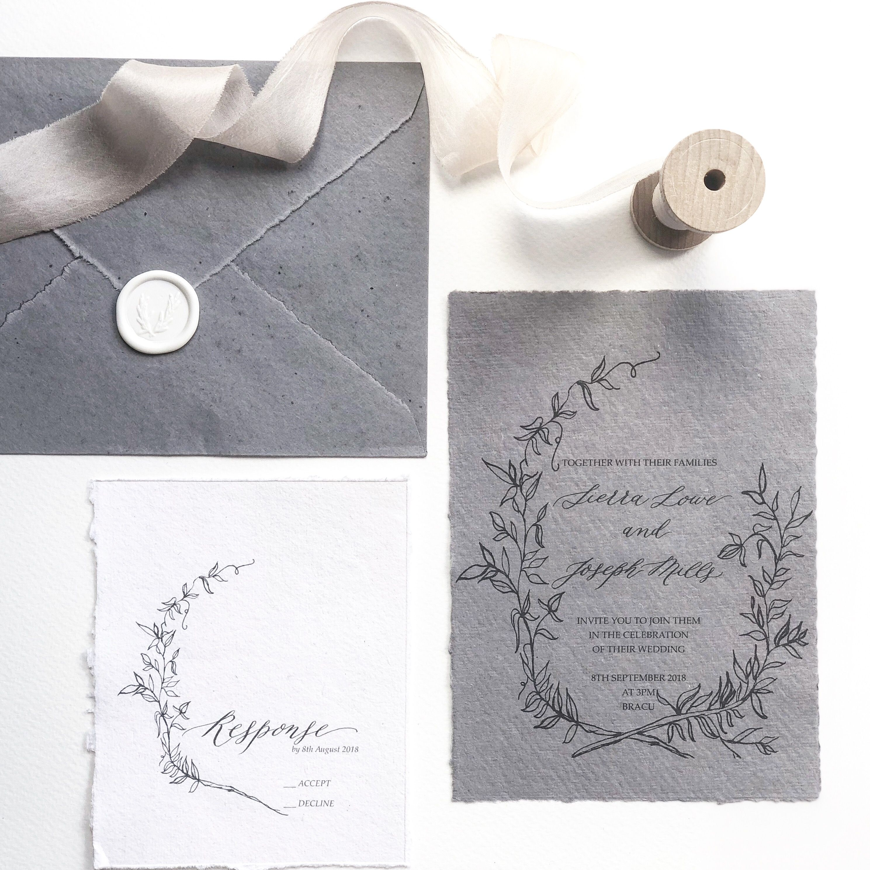 Matchy Matchy Letterpress Invite And Handmade Envelope: Calligraphy Wedding Invitation. Floral Wreath, Black On