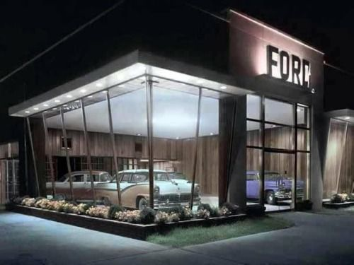 Ford showroom, 1950s... just something 'magical' about a ...