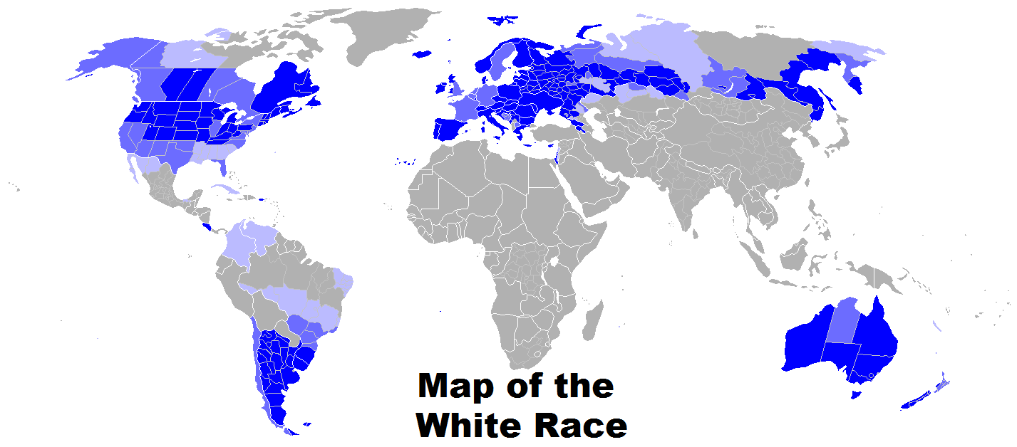 Map Of The White Race World Map Showing Areas With Significant
