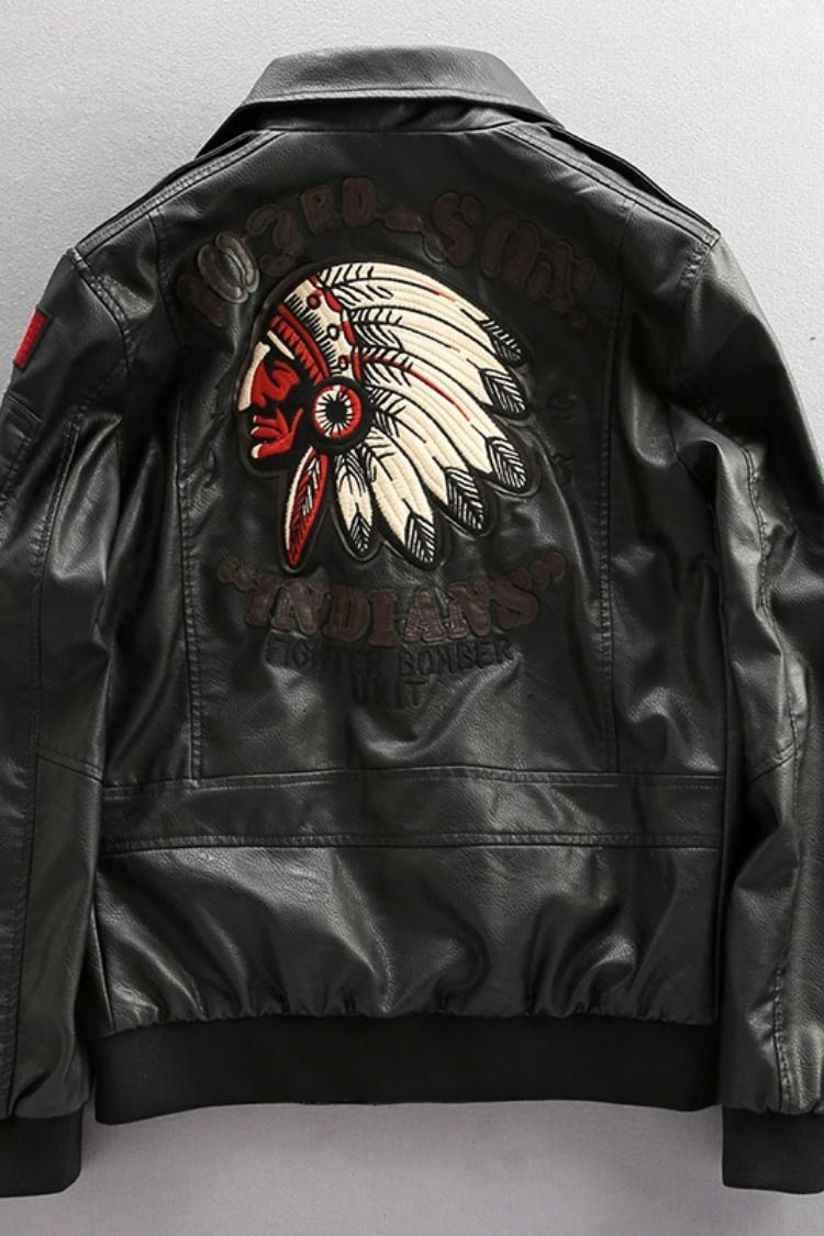 Combat air force pilot indian redskin embroidered faux