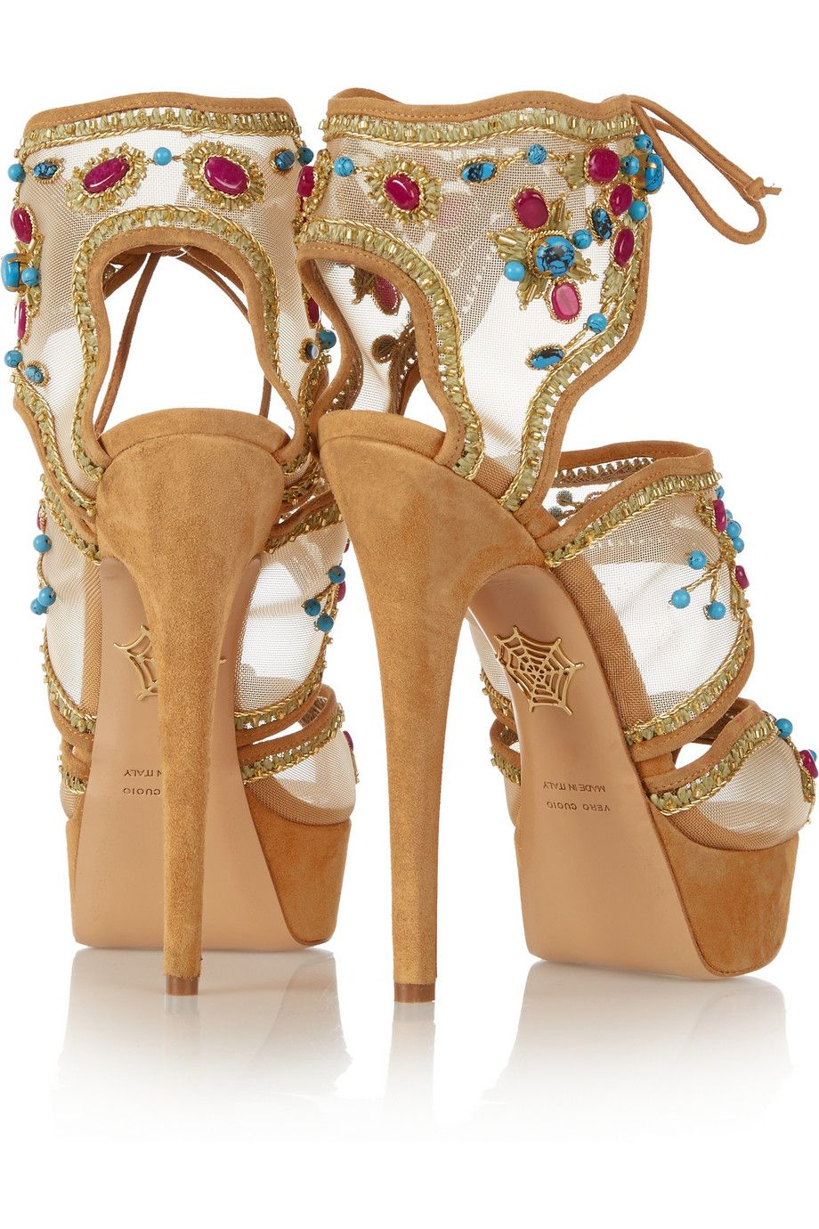 Charlotte Olympia Arizona embellished mesh and suede sandals $1,495