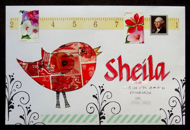 Envelope Art 14 | freezeframe03 via Flickr: the bird is pieced together from cancelled stamps.