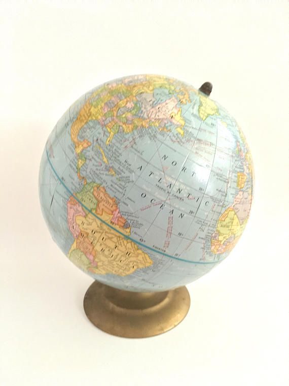 vintage globe small world atlas mini stand globe spinning brass