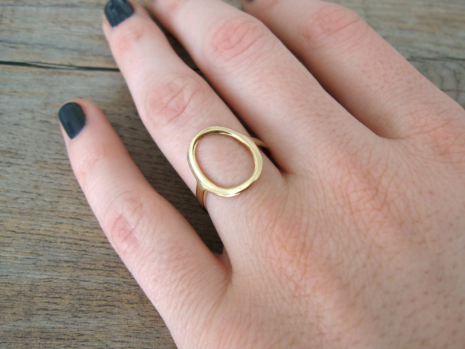 Gold Circle Ring in 14 Karat Gold (Yellow, White or Rose). $358,00 ...
