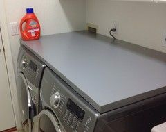 Counter Top On Front Load Washer Dryer Table From Ikea Glue Felt Contact Surfaces 20 How Heavy Room To Slide It Off For W D Repairs