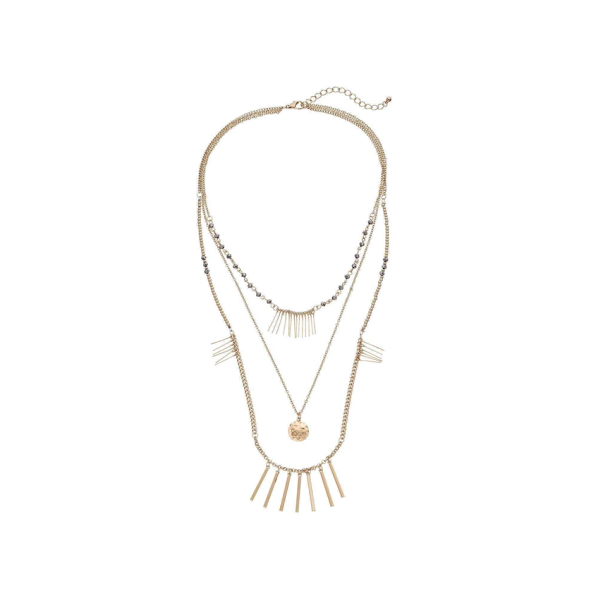Hammered Disc & Bar Fringe Layered Necklace, Women's, Gold