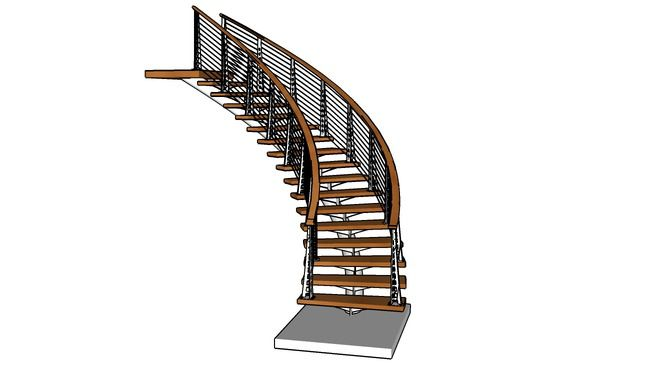 Chicago Style Curved Stair - 3D Warehouse | Cable railing ...