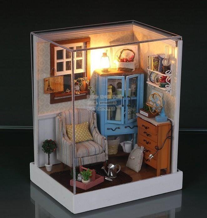 Miniatures Corner Of Led Light Dollhouse Room Miniatures