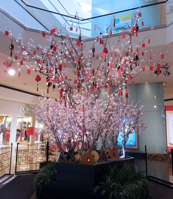 Beverly Center, Chinese New Year 2014 Silk Cherry Blossom Tree by Makebeleaves.com