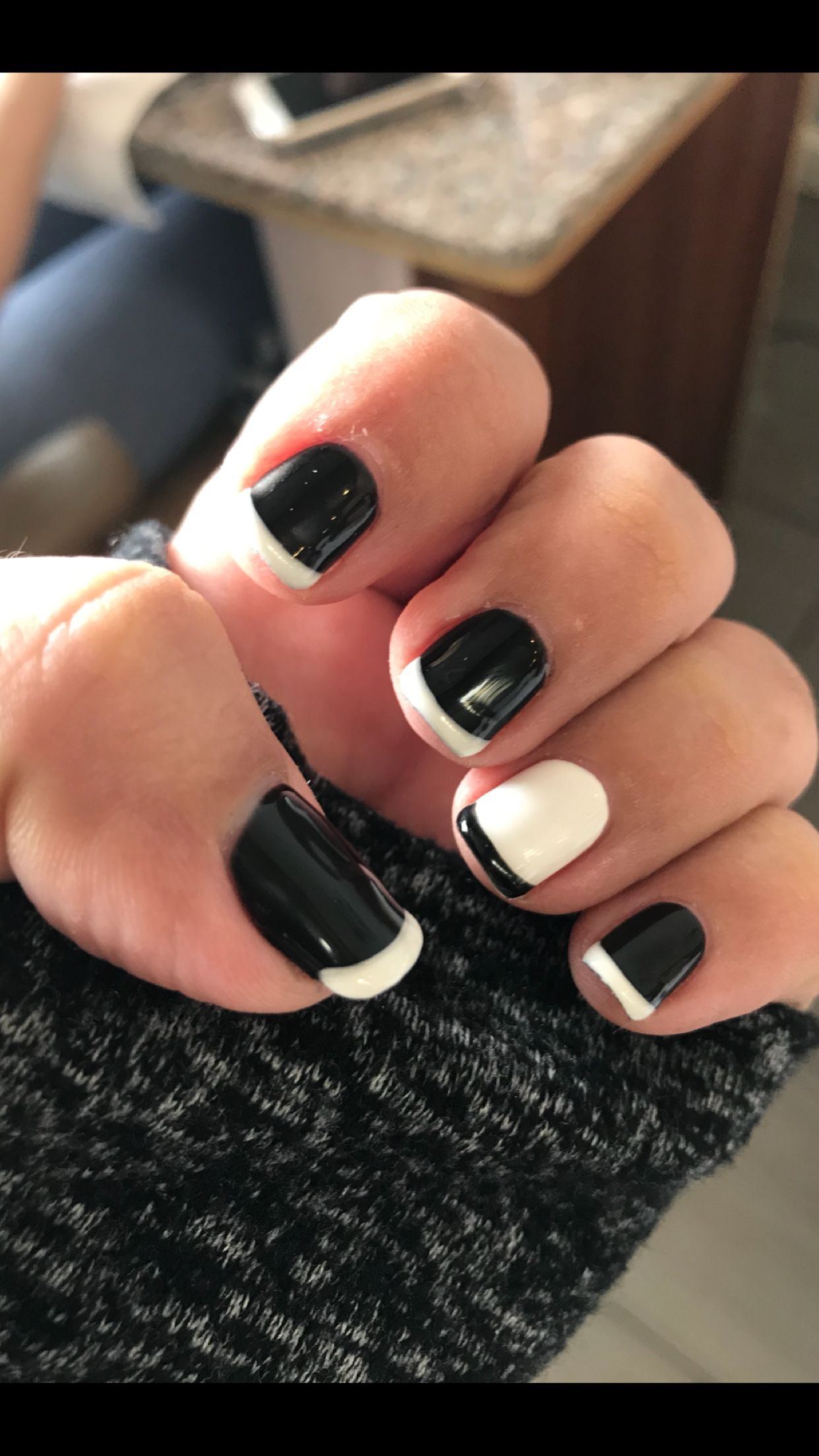 New style for a new year! Black and White French manicure with one ...