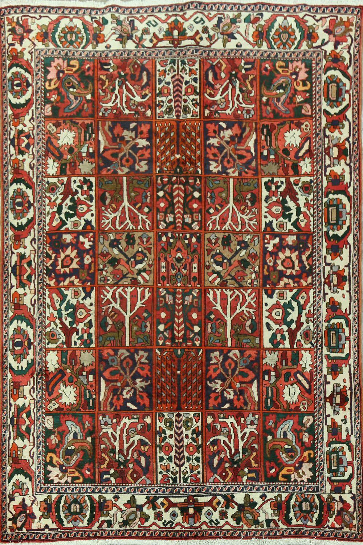 Vintage Garden Design Bakhtiari Persian Area Rug 7x10 Wool Area Rugs Persian Area Rugs Oriental Area Rugs Area rugs 7 x 10