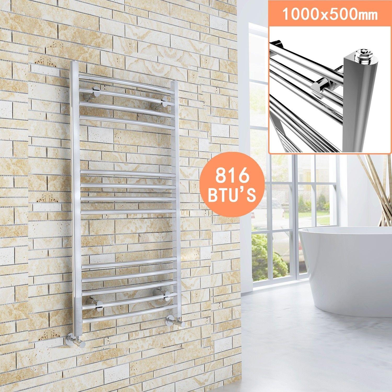 ELEGANT 1000 x 500 Curved Chrome Heated Bathroom Towel ...