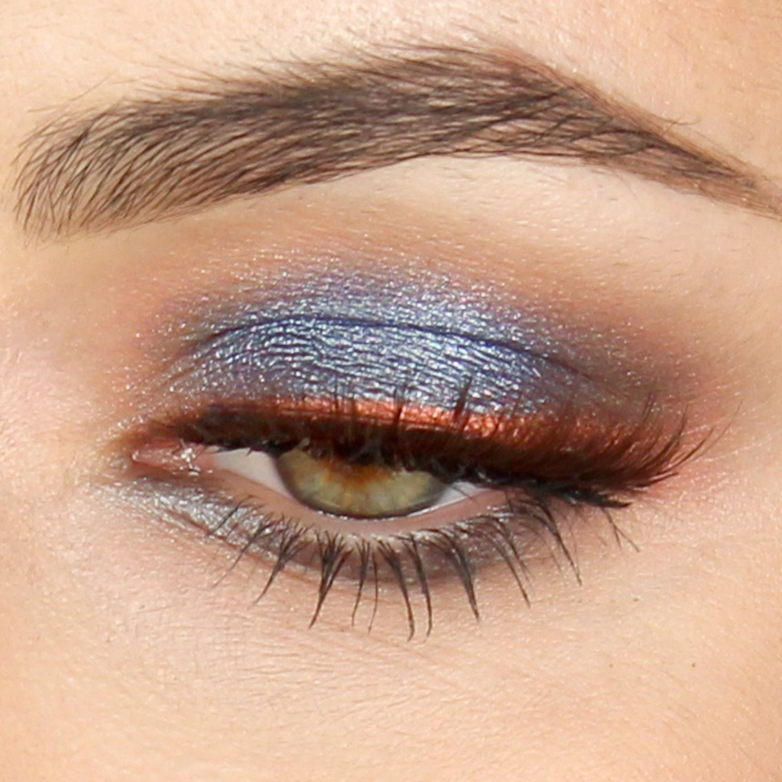 Blu-silver Smoky Eyes With Copper Eyeliner! Tutorial On