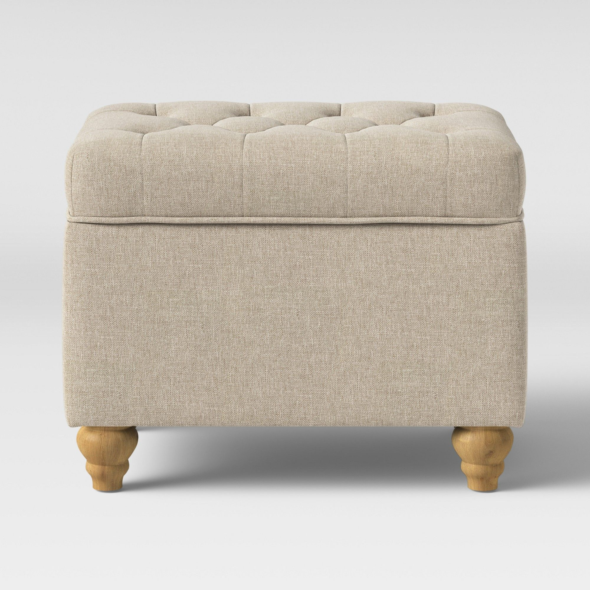 Frankford Tufted Storage Ottoman Cream With Natural Legs