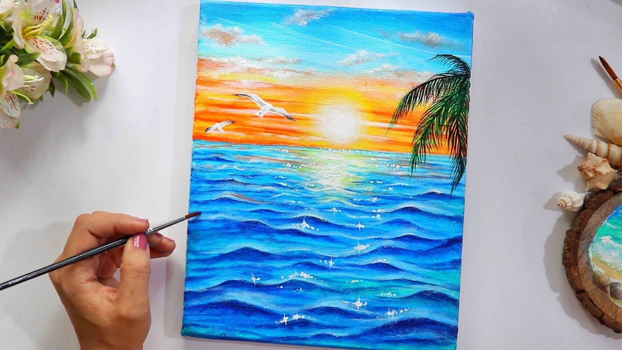 A Sunset Near A Sea Painting Step By Step Tutorial For Beginners