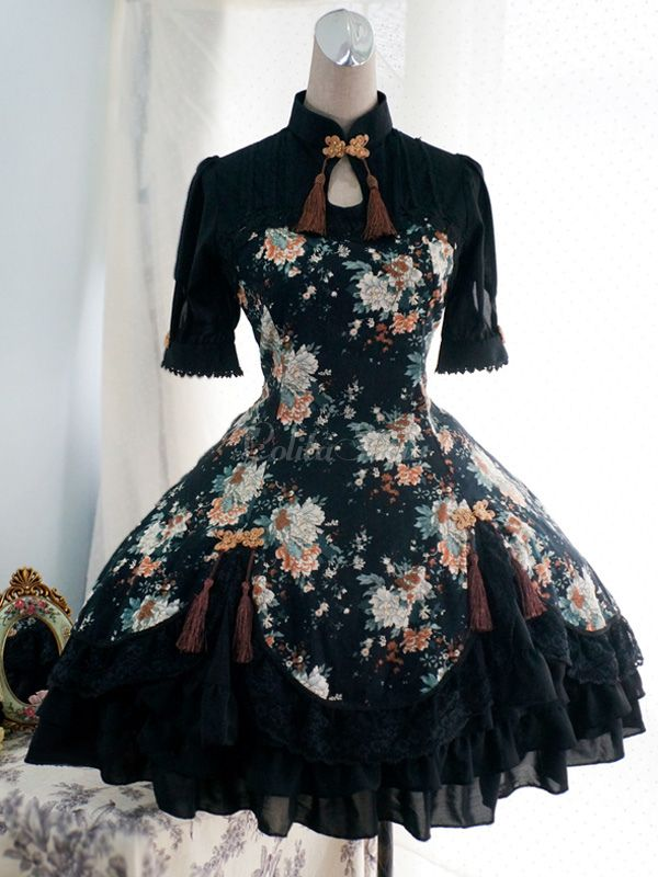 Noir Popeline moitié manches Lolita One-Piece - Lolitashow.com