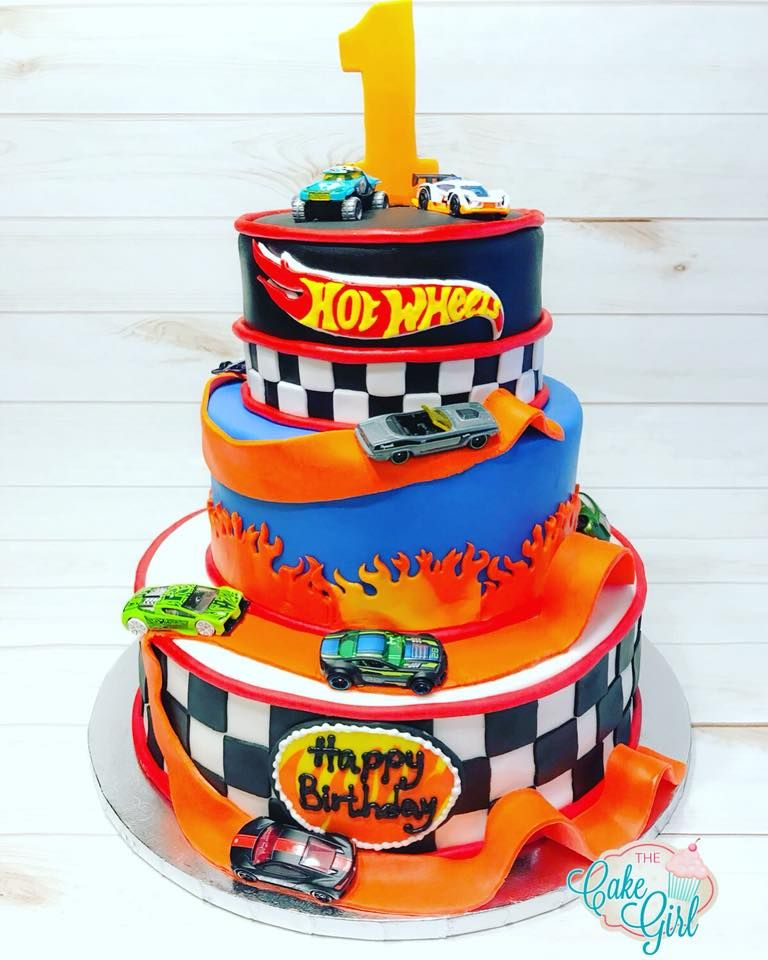 Hot wheels 1st birthday cake with images hot wheels