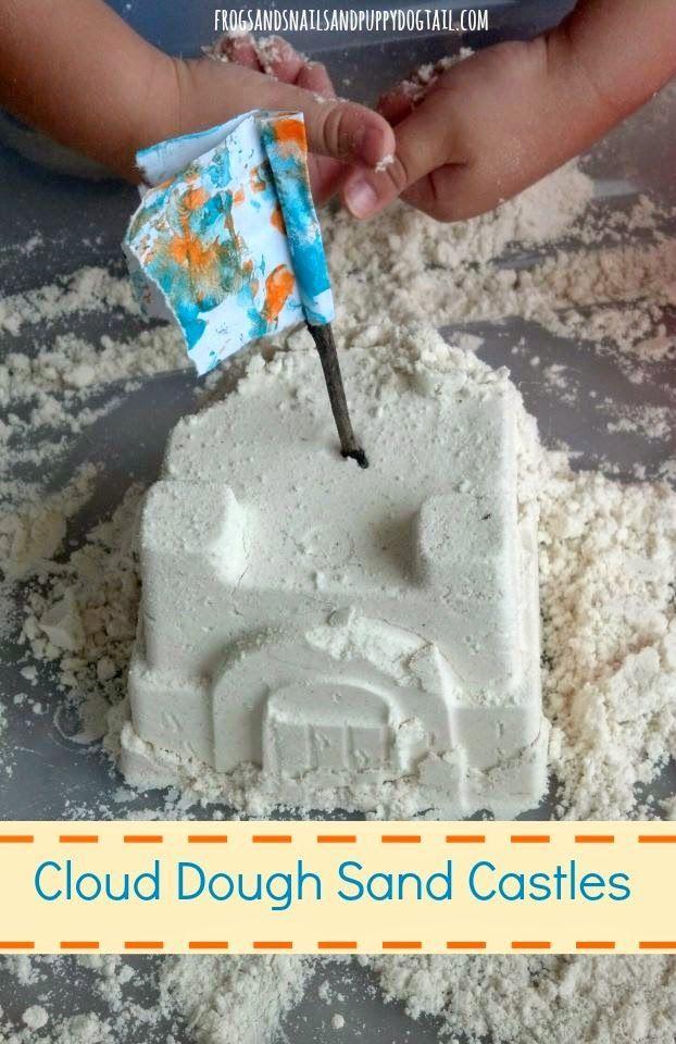 Cloud Dough Sand Castles. Easy cloud dough recipe and pretend play idea for kids.