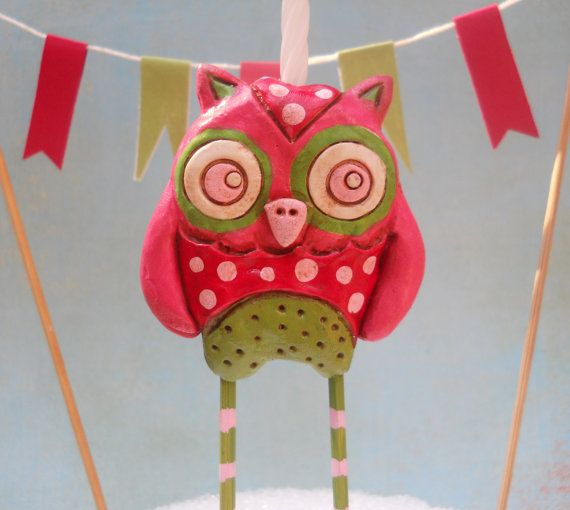 Watermelon Owl Cake Topper in green red and pink for by indigotwin, $25.00 #EtsyMaineTeam #MaineTeam