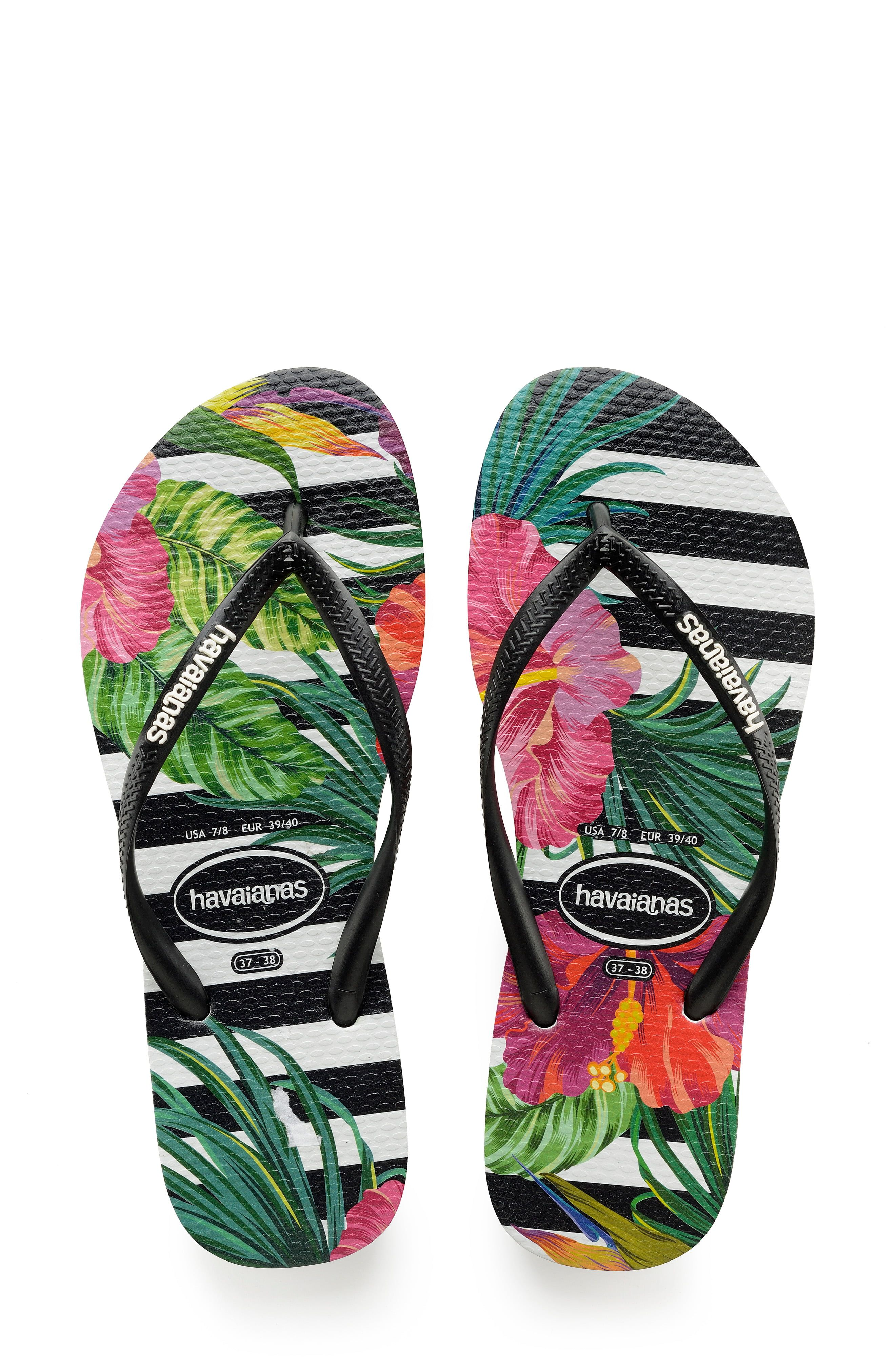 factory authentic 196d1 b0e78 Women's Havaianas Slim Tropical Floral Flip Flop, Size 41/42 ...