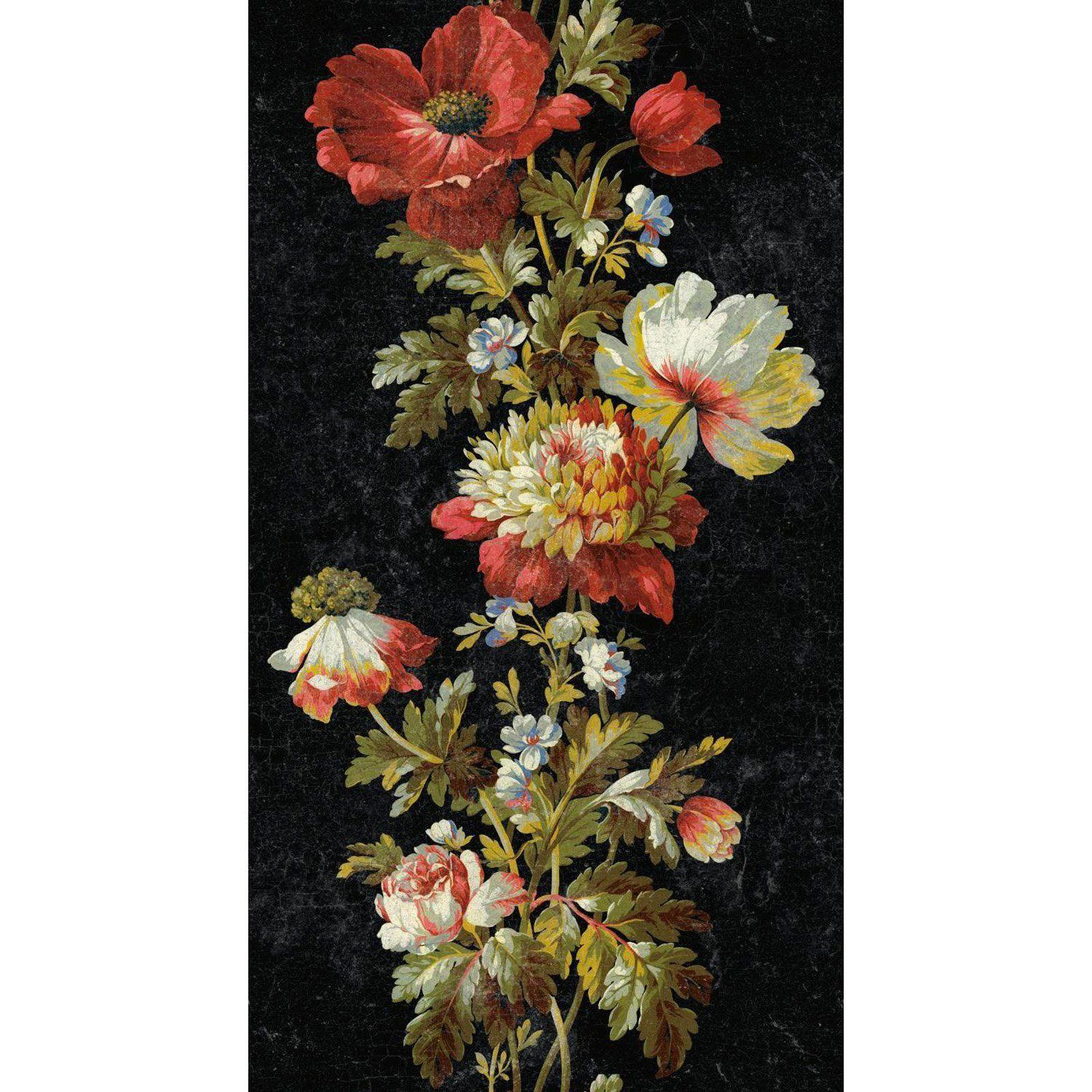 RoomMates Vintage Floral Stripe SelfAdhesive Wallpaper