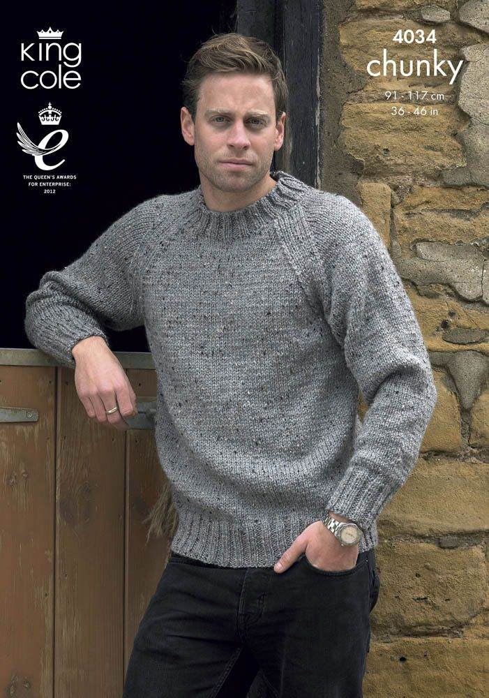 Sweater and Cardigan in King Cole Chunky Tweed - 4034   tricot ...