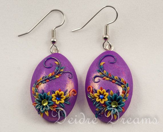 Summer Spring Flower Dangle Drop Earrings  Polymer by DeidreDreams, $42.00