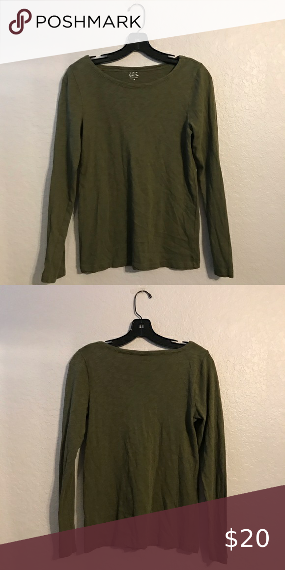 J Crew Long Sleeve Army Green T Shirt Long Sleeve Tshirt Men Long Sleeve Sleeves