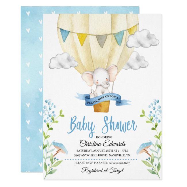 Elephant Hot Air Balloon Baby Shower Invitation | Zazzle.com